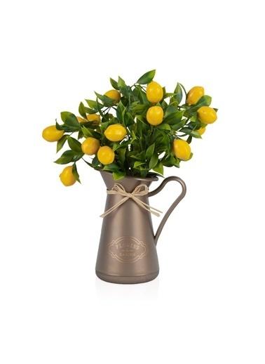 Çiçekmisin Italyan Style Flowers Garden Saksıda Limon Demet Yapay Bitki Kahve
